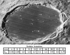 Krater Platon z zaznaczonymi małymi kraterkami na dnie