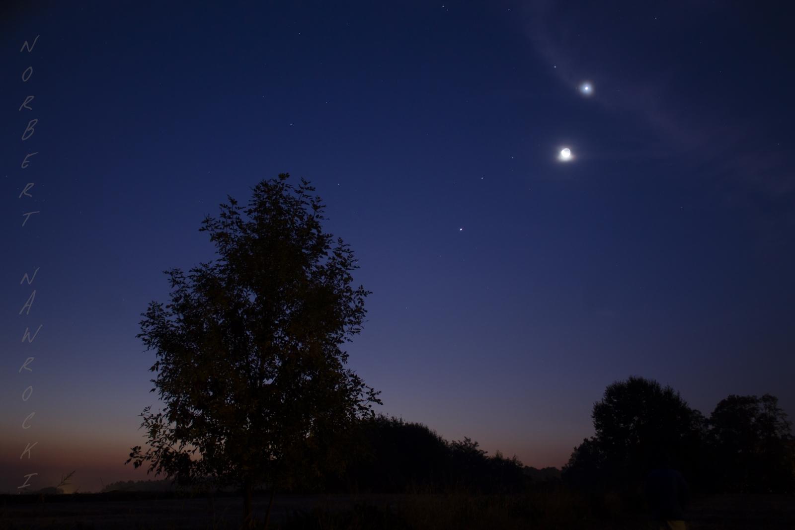 Koniunkcja Księżyc - Jowisz - Mars - Wenus