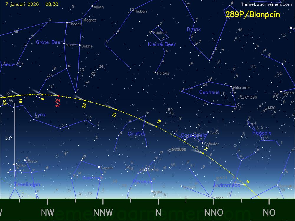 De komeet 289P/Blanpain aan de ochtendhemel