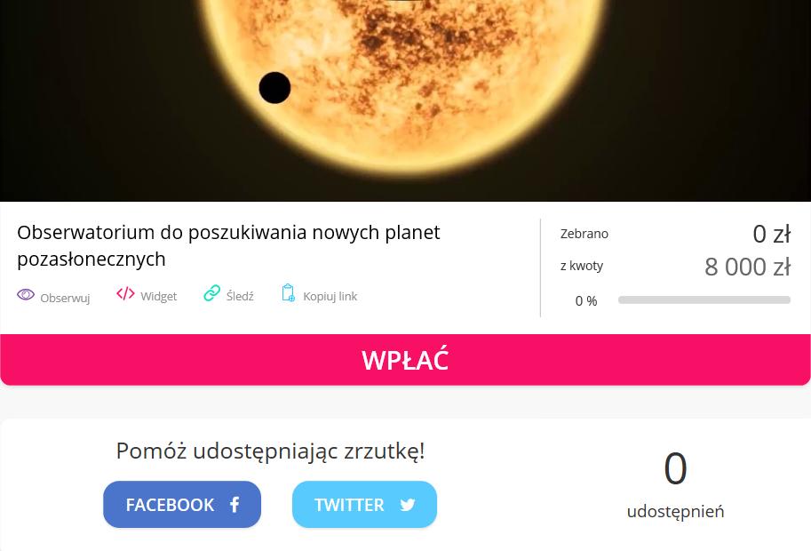 Zbiórka: Obserwatorium do poszukiwania nowych planet pozasłonecznych