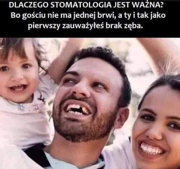 Dlaczego stomatologia jest  ważna, nie ma jednej brwi, brak zęba.jpg