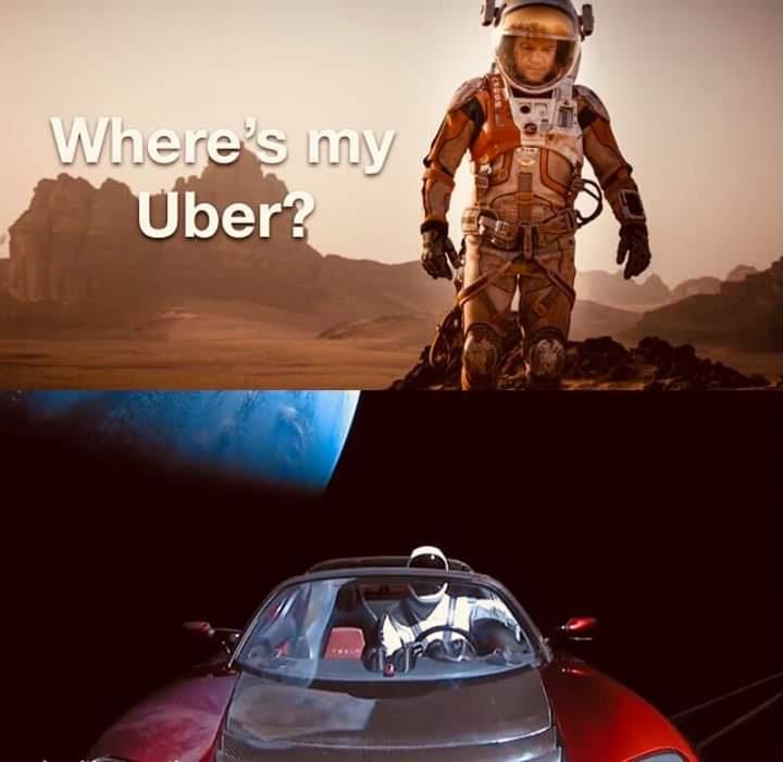 Gdzie jest mój uber, tesla na orbicie, marsjanin.jpg